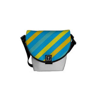 Diseño azul de la raya diagonal multi bolsas de mensajería