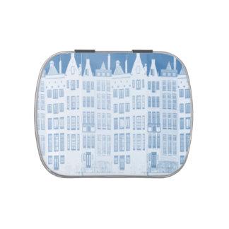 Diseño azul de las casas del canal de Amsterdam Jarrones De Dulces