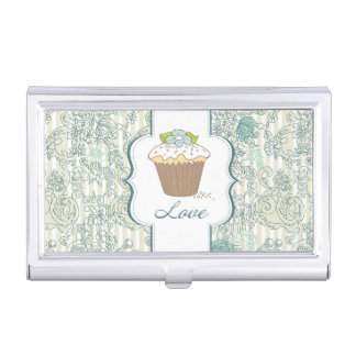 Diseño azul de las magdalenas del amor caja de tarjetas de visita