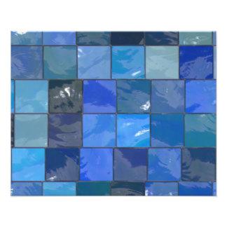 Diseño azul de las tejas del cuarto de baño cojinete