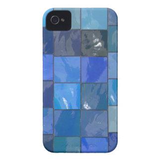 Diseño azul de las tejas del cuarto de baño funda para iPhone 4