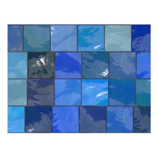 Diseño azul de las tejas del cuarto de baño tarjeta postal