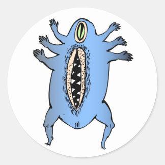 Diseño azul de los brazos pegatina redonda