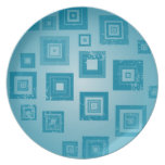 Diseño azul de los cuadrados plato para fiesta