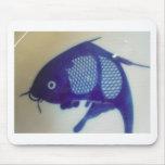 Diseño azul de los pescados alfombrilla de ratón