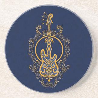 Diseño azul de oro complejo de la guitarra baja posavasos personalizados