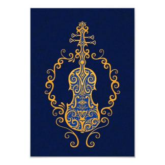 Diseño azul de oro complejo del violín anuncio
