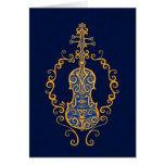 Diseño azul de oro complejo del violín felicitaciones
