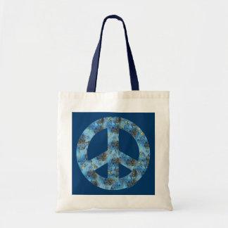 Diseño azul de signo de la paz, símbolo de paz bolsa tela barata