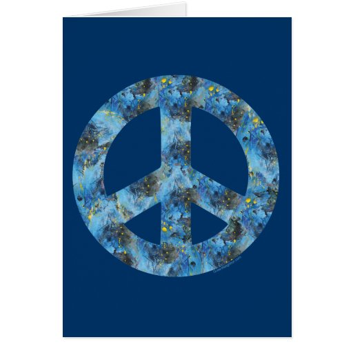 Diseño azul de signo de la paz, símbolo de paz tarjeta de felicitación