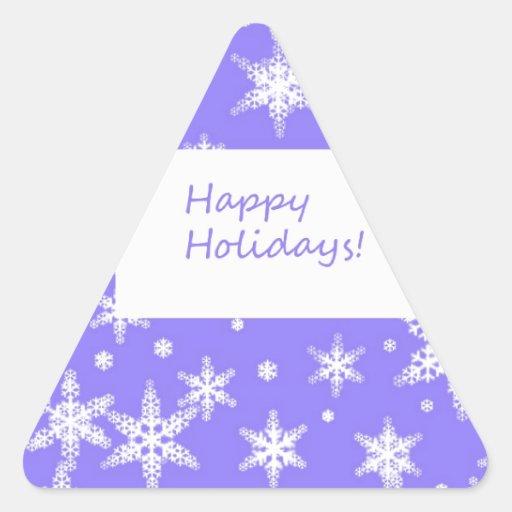 Diseño azul de Snowflakd buenas fiestas Calcomanía Triangulo