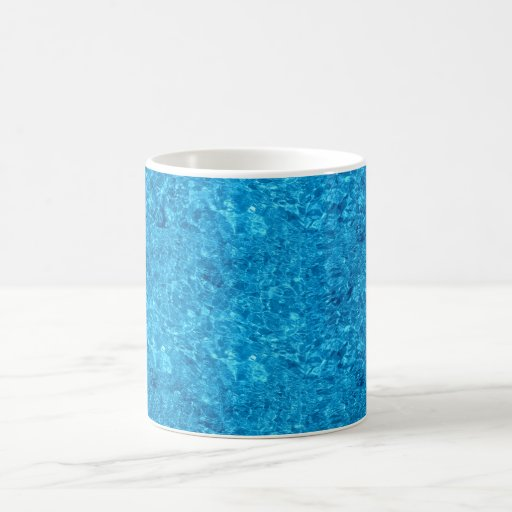 Diseño azul del agua de la playa tazas de café