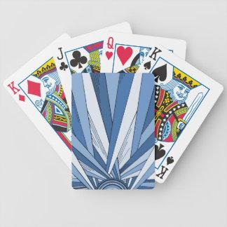 Diseño azul del art déco de la salida del sol barajas de cartas