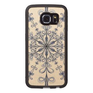 Diseño azul del arte del Cornflower floral de Funda De Madera Para Samsung Galaxy S6 Edge