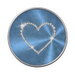 Diseño azul del corazón del diamante latas de dulces