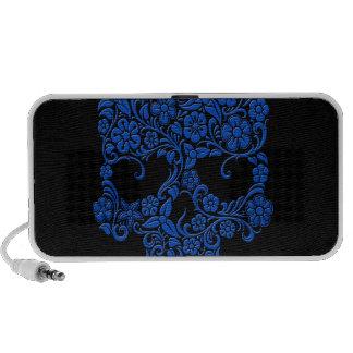 Diseño azul del cráneo de las flores y de las vide iPod altavoz