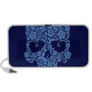 Diseño azul del cráneo de las flores y de las vide altavoces de viaje