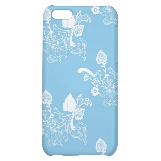 Diseño azul del estampado de flores del vintage