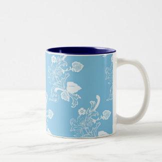 Diseño azul del estampado de flores del vintage taza de café