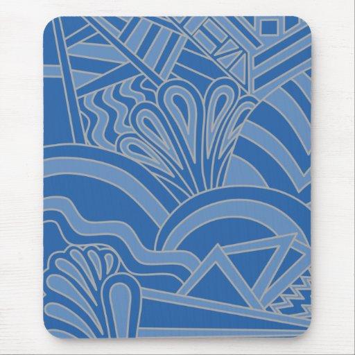 Diseño azul del estilo del art déco alfombrilla de raton