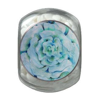 Diseño azul del extracto de la flor de la acuarela frascos de cristal