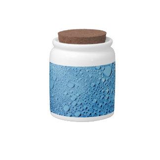 Diseño azul del fondo de los descensos del agua platos para caramelos