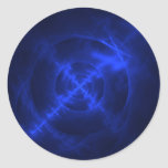 Diseño azul del fractal de los remolinos pegatina redonda