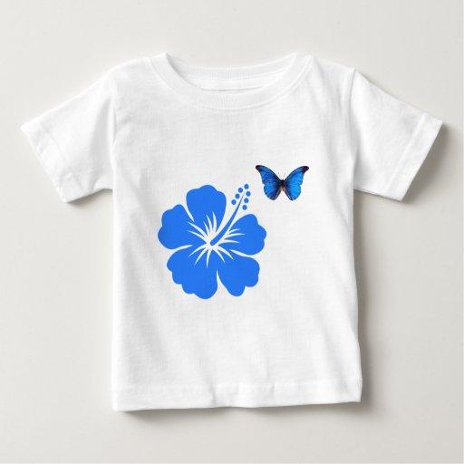 Diseño azul del hibisco de la mariposa playera