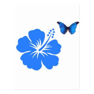Diseño azul del hibisco de la mariposa postales