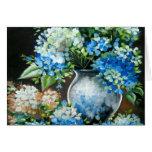 Diseño azul del Hydrangea Tarjetas