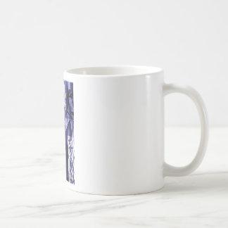 Diseño azul del modelo de la hoja de Fatsia Tazas