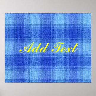 Diseño azul del modelo de la tela de la guinga de poster