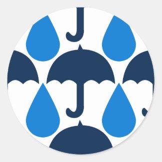 Diseño azul del modelo de las gotas de agua y de pegatina redonda