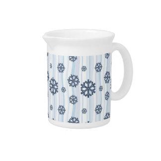 Diseño azul del modelo de los copos de nieve jarrón