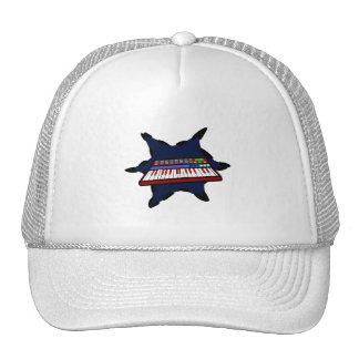Diseño azul del músico del chapoteo del teclado el gorras