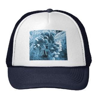 diseño azul del pinecone del invierno rústico gorros bordados