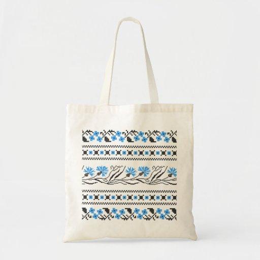 Diseño azul del punto de cruz del Cornflower Bolsas De Mano