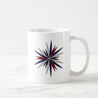 Diseño azul/del rojo/blanco de la estrella taza de café