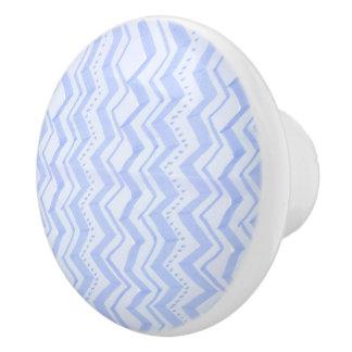 Diseño azul del zigzag - botón de cerámica pomo de cerámica