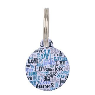 Diseño azul enrrollado del texto del amor placa de mascota