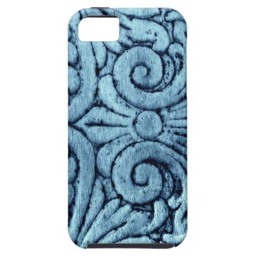 Diseño azul hermoso Scrollwork de la flor de lis Funda Para iPhone SE/5/5s