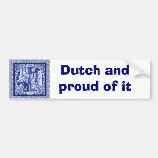 Diseño azul holandés de la teja de Delft del vinta Pegatina Para Auto