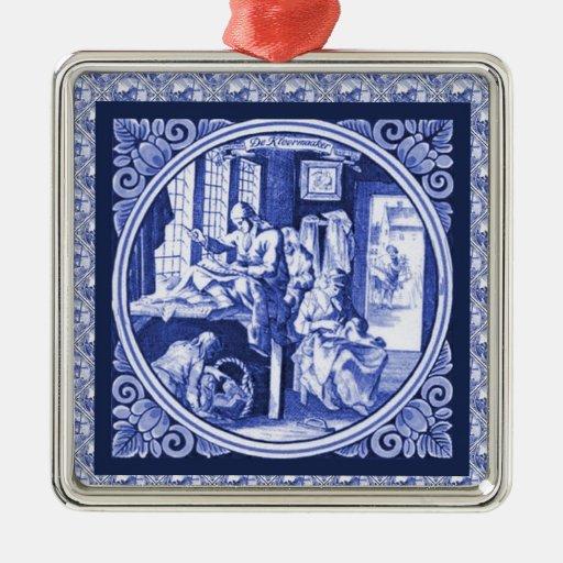 Diseño azul holandés de la teja de Delft del vinta Ornaments Para Arbol De Navidad