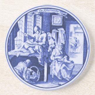 Diseño azul holandés de la teja de Delft del vinta Posavasos Personalizados