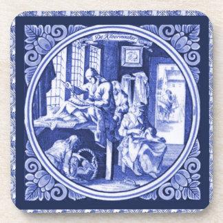 Diseño azul holandés de la teja de Delft del vinta Posavasos De Bebidas