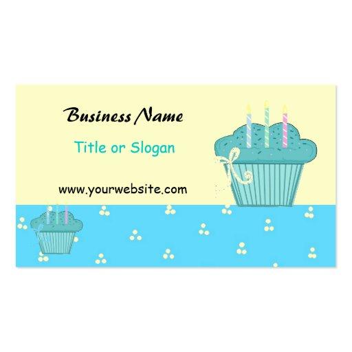 Diseño azul lindo de la magdalena tarjetas de visita
