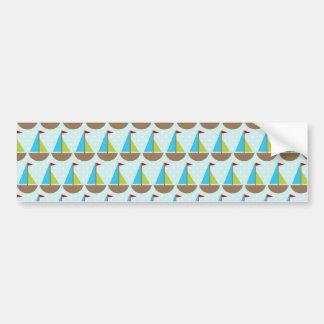 Diseño azul lindo del velero para los muchachos pegatina para auto