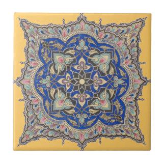Diseño azul medio-oriental del oro del amarillo ár azulejo cuadrado pequeño