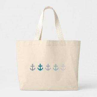 Diseño azul náutico de las anclas bolsa de tela grande