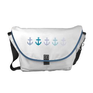Diseño azul náutico de las anclas - bolso blanco bolsa de mensajeria